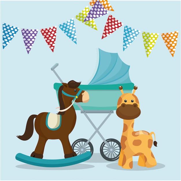 Cartão do chuveiro de bebê com cavalo de madeira e girafa Vetor grátis