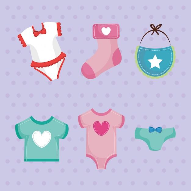 Cartão do chuveiro de bebê com conjunto de vestuário Vetor grátis