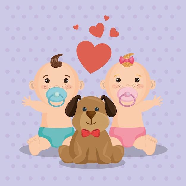 Cartão do chuveiro de bebê com crianças pequenas Vetor grátis