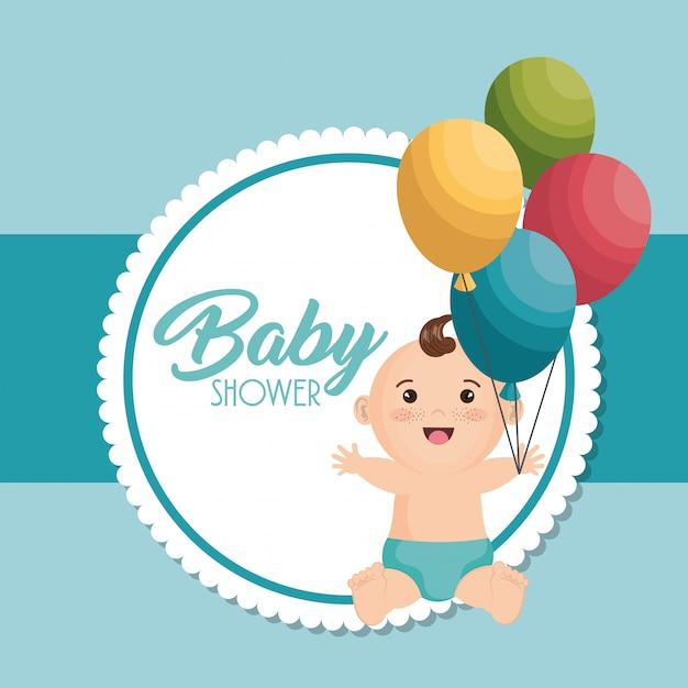 Cartão do chuveiro de bebê com garotinho Vetor grátis