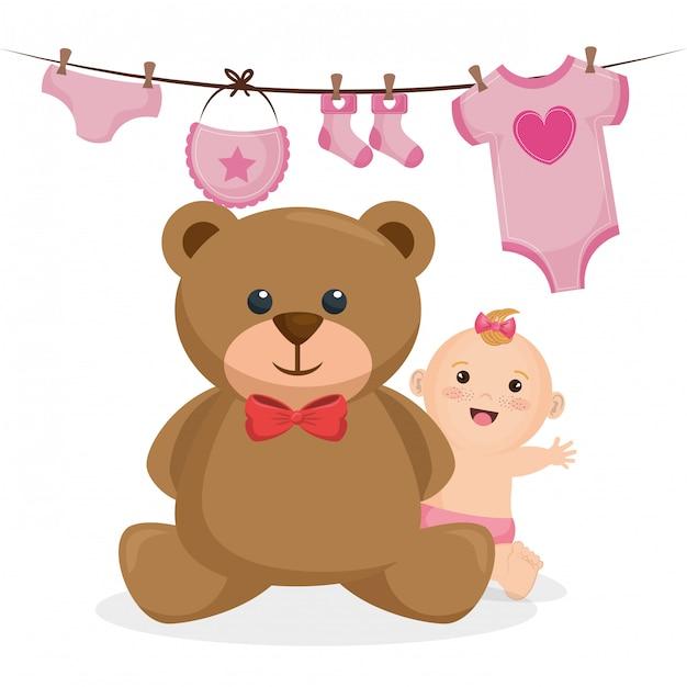 Cartão do chuveiro de bebê com menina Vetor grátis