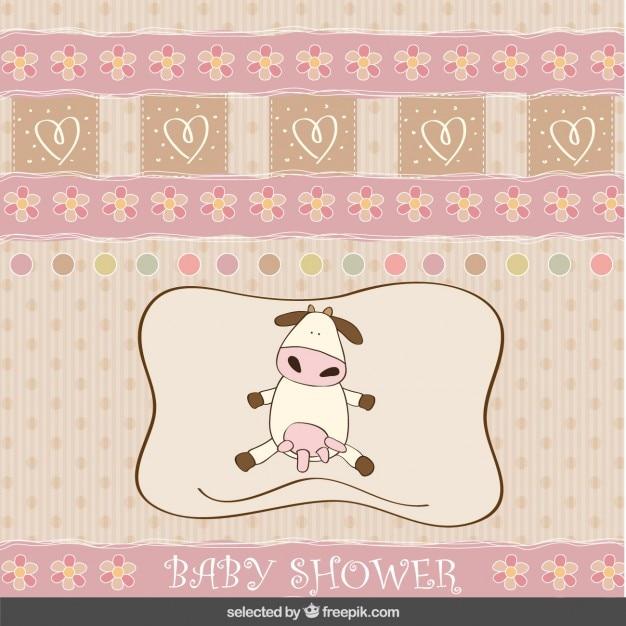Cartão do chuveiro de bebê com vaca adorável Vetor grátis
