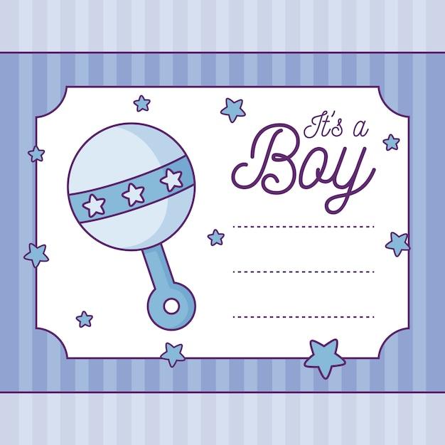 Cartão do chuveiro de bebê é um menino com chocalho Vetor Premium