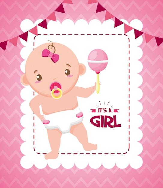Cartão do chuveiro de bebê Vetor grátis