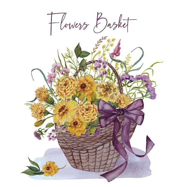 Cartão do convite com cesta de flores Vetor Premium