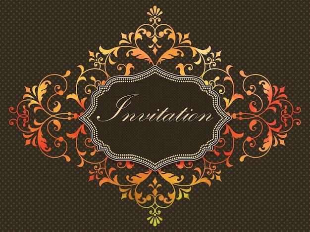 Cartão do convite com elemento do damasco da aguarela no fundo escuro. Vetor grátis