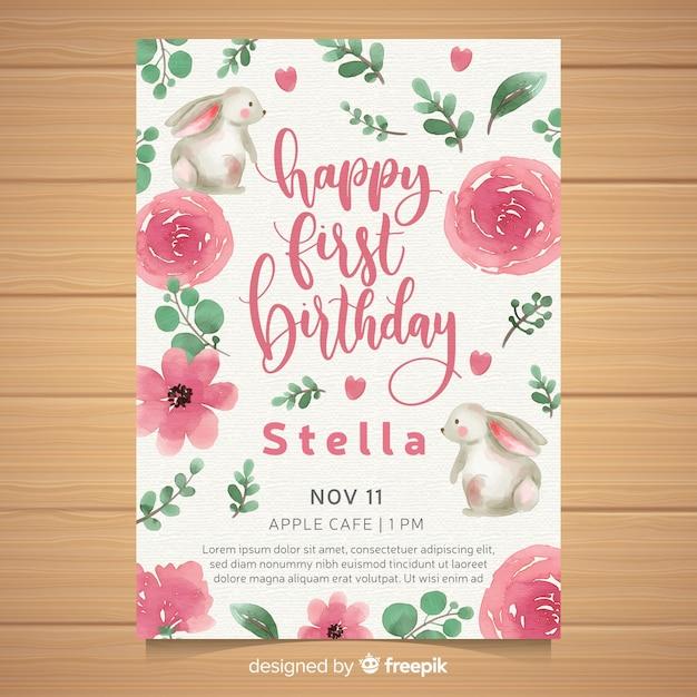 Cartão do convite da festa de aniversário da aguarela primeiro Vetor grátis