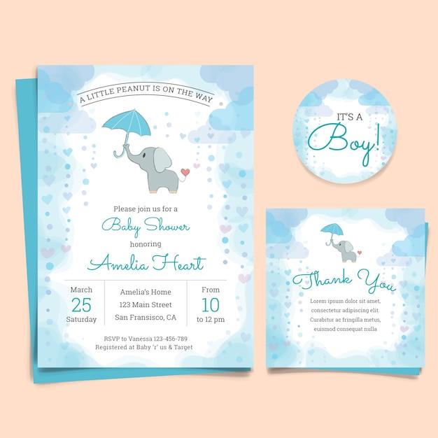 Cartão do convite da festa do bebé com elefante Vetor grátis