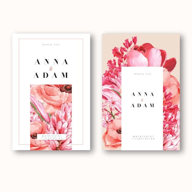 Cartão do convite da mola com bordo floral e folhas. botânica do frescor, cartão dos obrigados, flor do dia das mães Vetor grátis