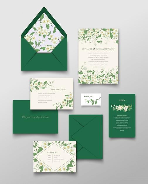 Cartão do convite do jasmim e coleção da letra. Vetor Premium