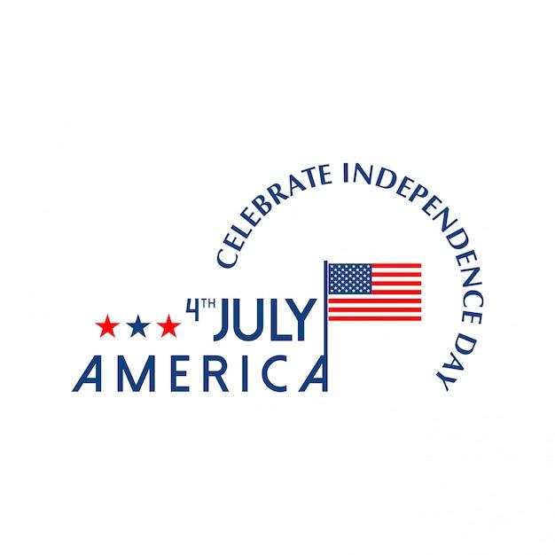 Cartão do dia da independência americana com bandeira do eua e luz de fundo vector Vetor grátis