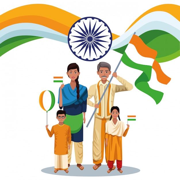 Cartão do dia da independência da índia Vetor grátis