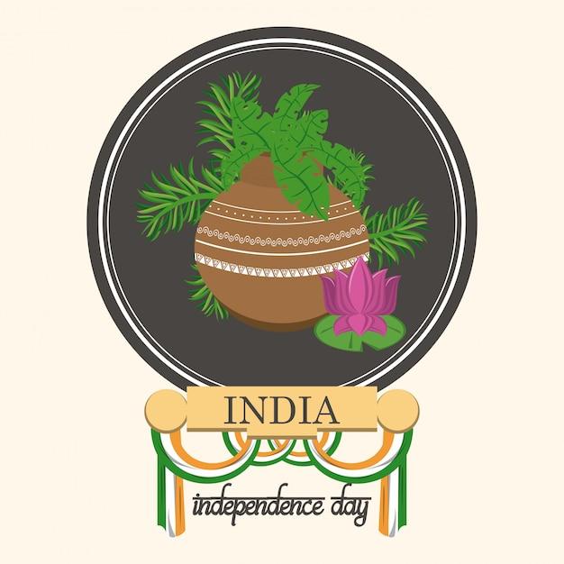 Cartão do dia da independência de india colorido Vetor grátis