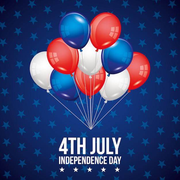 Cartão do dia da independência Vetor Premium