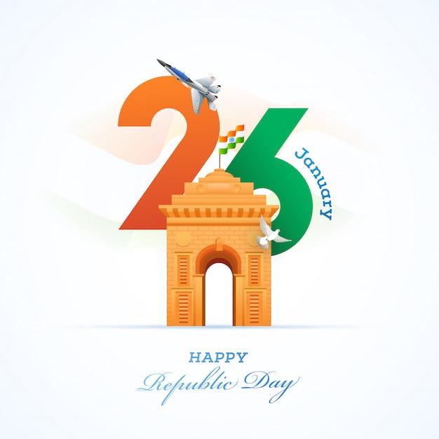 Cartão do dia da república da índia Vetor Premium