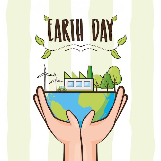 Cartão do dia da terra, planeta com árvores e objetos de energia limpa, ilustração Vetor grátis