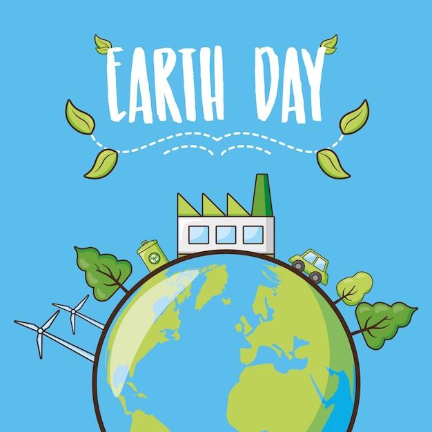 Cartão do dia da terra, planeta com floresta, ilustração Vetor grátis