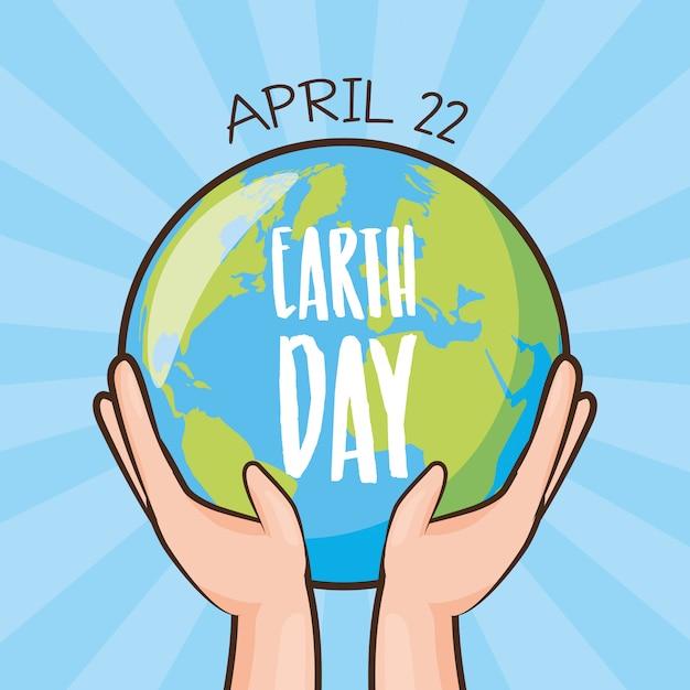 Cartão do dia da terra, terra sendo realizada pelas mãos, ilustração Vetor grátis