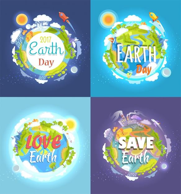 Cartão do dia da terra Vetor Premium