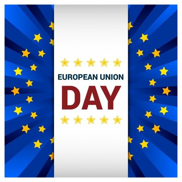 Cartão do dia da união europeia cumprimentar Vetor grátis