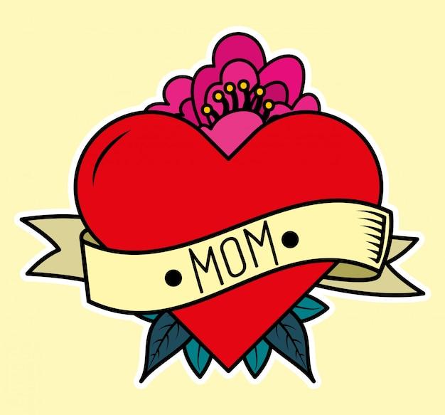Cartão do dia das mães Vetor Premium