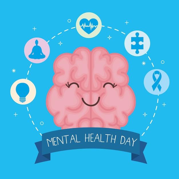 Cartão do dia de saúde mental com cérebro Vetor Premium