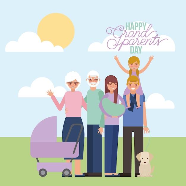 Cartão do dia do grandparenst Vetor Premium