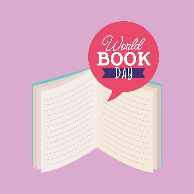 Cartão do dia do livro do mundo Vetor Premium