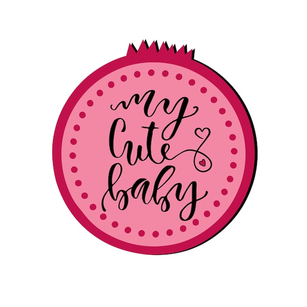 Cartão do dia dos namorados. meu bebe fofo. frase manuscrita. ilustração do vetor em um fundo alaranjado da aguarela. Vetor Premium