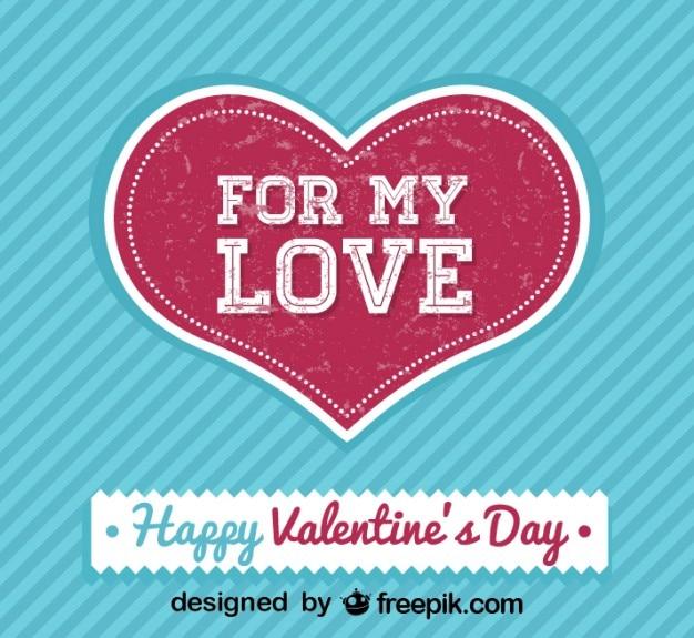 Cartão do dia dos namorados retro para o meu amor Vetor grátis