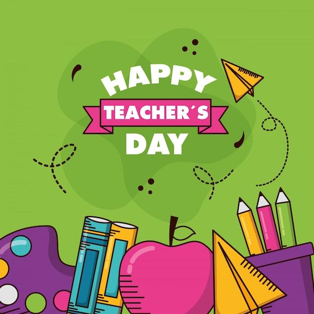 Cartão do dia dos professores Vetor grátis