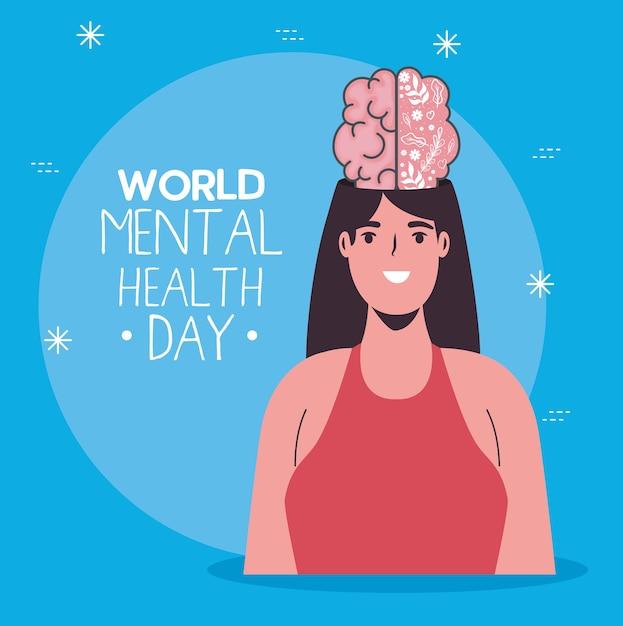 Cartão do dia mundial da saúde mental com cérebro na mulher Vetor Premium
