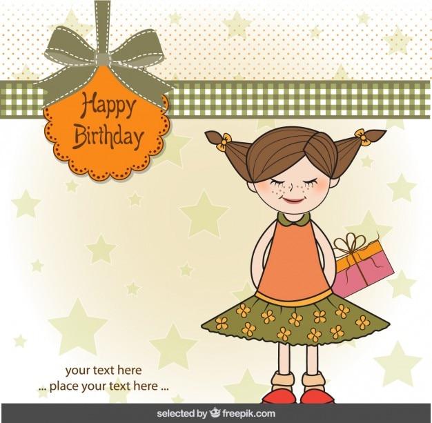 Cartão do feliz aniversario com menina bonito Vetor grátis
