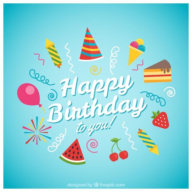 Cart 227 O Do Feliz Aniversario Com Sorvete Baixar Vetores