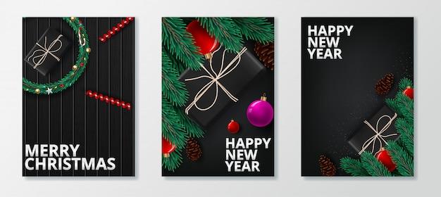 Cartão do feliz ano novo 2020 e feliz natal. Vetor Premium