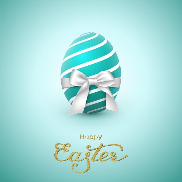 Cartão do feriado da páscoa. letras de brilho, ovo realista com laço branco. Vetor grátis