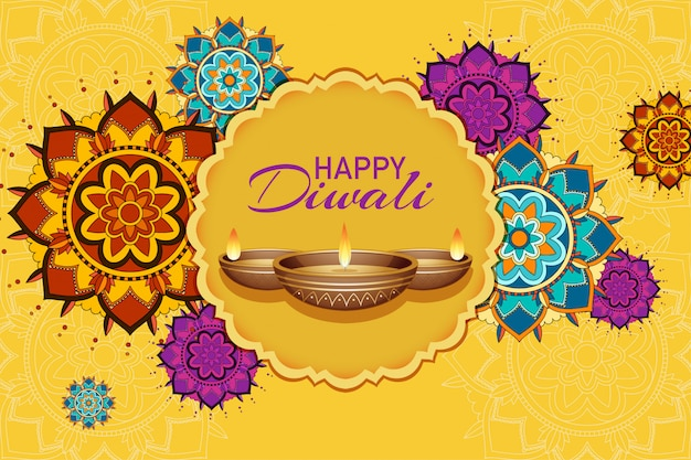 Cartão do festival de diwali Vetor grátis