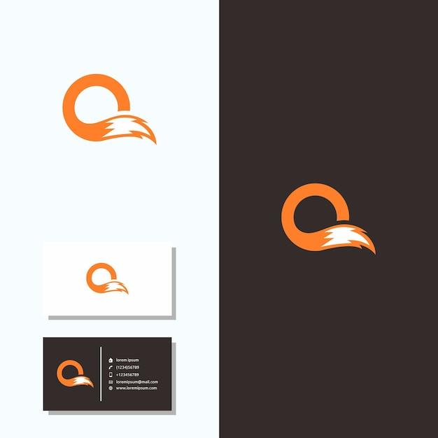 Cartão do logotipo do fox da cauda da letra o Vetor Premium