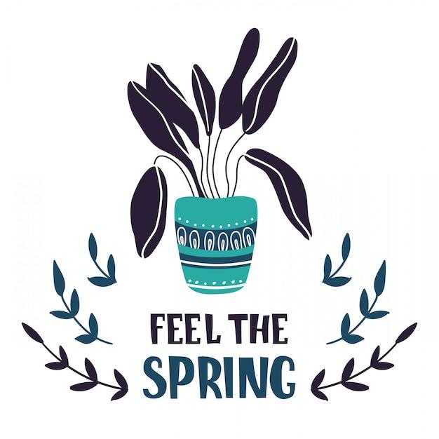 Cartão dos desenhos animados com a planta em vaso em casa, flor, lettering Vetor Premium