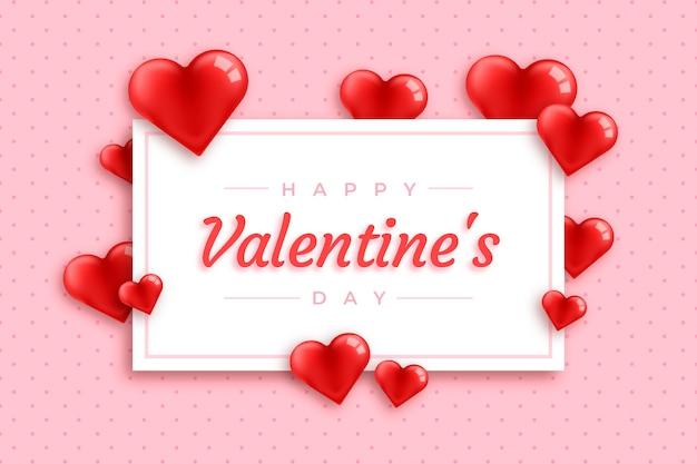 Cartão e corações dos namorados fundo realista Vetor grátis