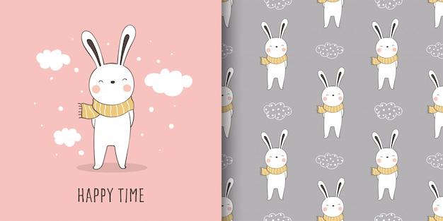 Cartão e impressão padrão coelho tecido têxtil crianças. Vetor Premium