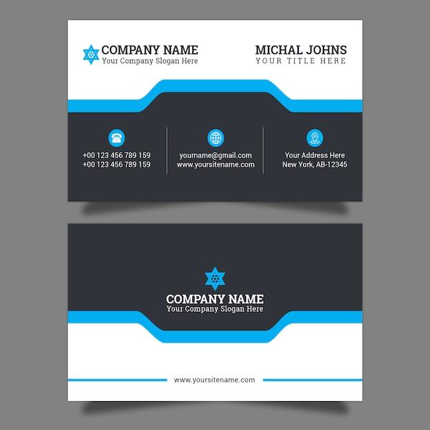 Cartão elegante azul à moda Vetor Premium
