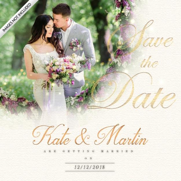Cartão elegante do convite do casamento com efeito real da iluminação Vetor grátis