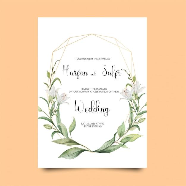 Cartão elegante do convite do casamento Vetor Premium