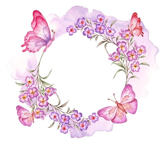 Cartão elegante em aquarela de dia dos namorados com moldura floral e borboletas Vetor Premium
