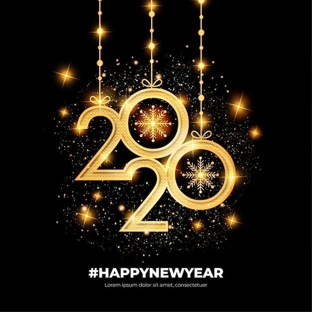 Cartão elegante feliz ano novo com formas de ouro Vetor grátis