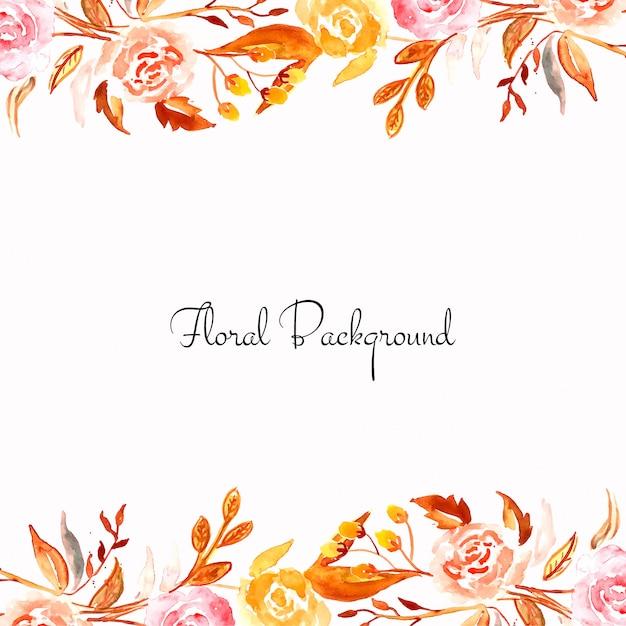 Cartão elegante flor aquarela colorida Vetor grátis