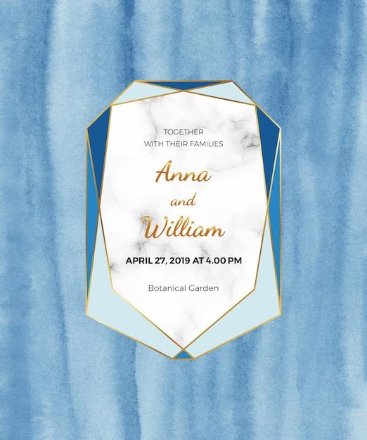 Cartão em aquarela azul com moldura de mármore, linha dourada. textura de papel pintada à mão. Vetor Premium