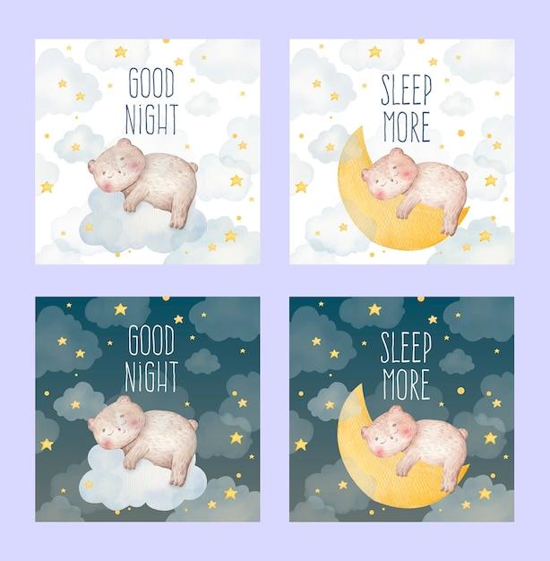 Cartão em aquarela de bebê fofo de um urso dormindo em uma nuvem e na lua Vetor Premium
