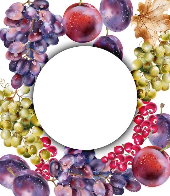 Cartão em aquarela de uvas. colheita suculenta de outono outono fundo Vetor Premium